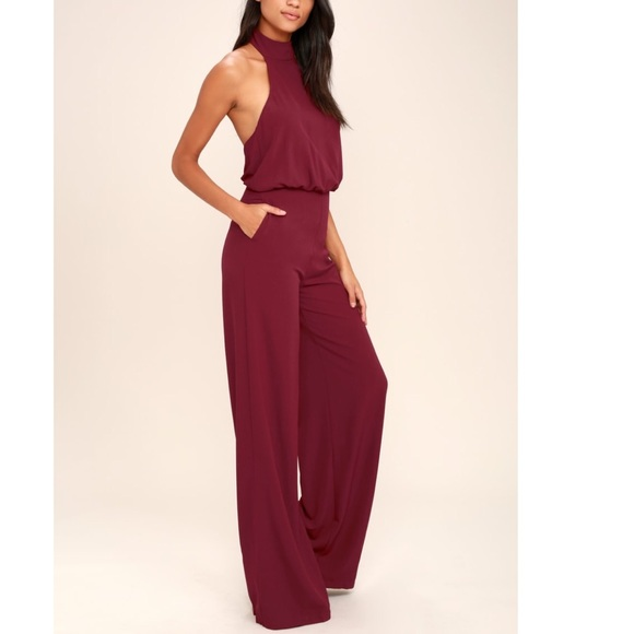 d9bdc87810864 Lulu s Pants - Moment for Life Wine Red Halter Jumpsuit!